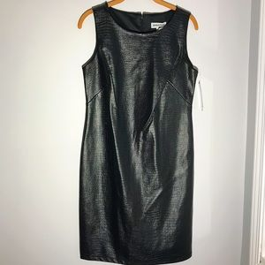 NWT Black Faux Leather Sleeveless Dress
